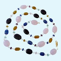 Gilt Sterling 925 Multi-Color Glass Bead Necklace