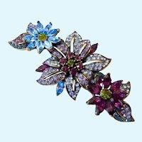 Large Gorgeous Heidi Daus Crystal Flower Floral Brooch