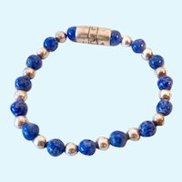 Relios Sterling Silver 925 Blue Stone Bead Stretch Bracelet Small Size