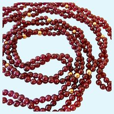Twisted Double Strand Garnet & 14K Gold Bead Necklace 36 Inches