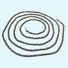 Long 56 Inches Faceted Hematite Bead Necklace Sterling Silver 925