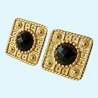 14K Gold Smokey Quartz Omega Back Post Earrings 7.8 Grams