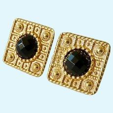 14K Gold Smokey Quartz Omega Back Post Earrings 7.8 Grams