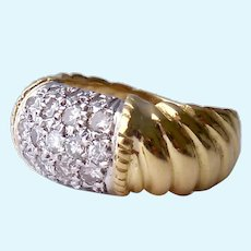 14K Gold Ring 5 Row Diamonds Ribbed Band .45 Ct Estimated TCW
