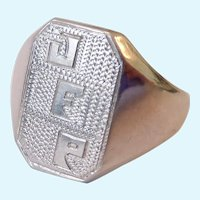 18K White Gold Signet Ring 5.0 Grams