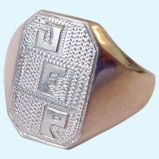 18K White Gold Signet Ring 5.0 Grams