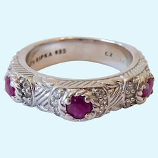 Judith Ripka Sterling Silver 925 Ruby Band Ring with CZs