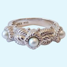 Judith Ripka Sterling Silver 925 Cultured Pearl Band Ring