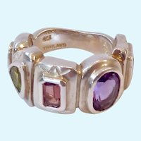 Signed SeidenGang Multi-Gem Sterling Silver 925 Ring