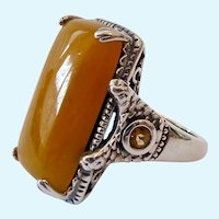 Sterling Silver 925 Yellow Jade & Citrine Ring Signed Joy