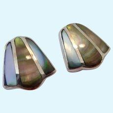 Sterling Silver 925 Mother of Pearl MOP Post Earrings