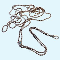 Sterling Silver 925 Guard Muff Chain Heart Slide with Turquoise 48 Inches