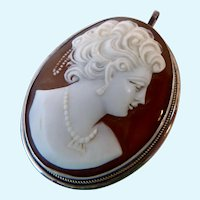 Silver Carved Shell Cameo Pendant
