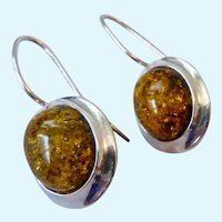 Sterling Silver 925 Amber Earrings