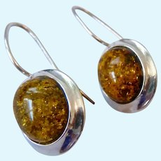 Sterling Silver 925 Amber Earrings