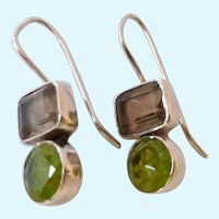 Sterling Silver 925 Peridot & Smokey Quartz Earrings