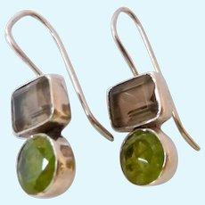 Sterling Silver 925 Peridot & Smokey Quartz Earrings