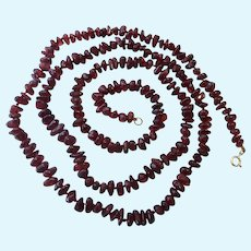 Garnet Nugget Necklace 14K Gold Clasp Hand Knotted Over 35 Inches