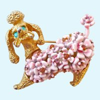 Adorable Poodle Pin Brooch Signed