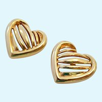 Krementz Heart Post Earrings Gold Overlay