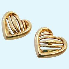 Krementz Heart Post Earrings Gold Overlay