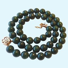 Nephrite Jade Bead Necklace 14K Gold Clasp 16 Inches
