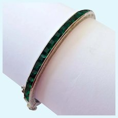 Art Deco Sterling Silver 925 Hinged Bangle Emerald Green Paste Channel Set