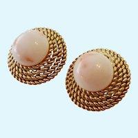 14K Gold & Angel Skin Coral Clip Earrings 14.5 Grams