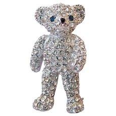 Adorable Sparkly Teddy Bear Brooch Pin