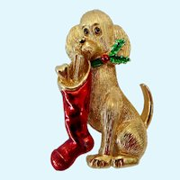 Adorable Gerrys Christmas Holiday Dog Brooch