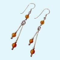 Sterling Silver 925 Amber Color Bead Dangle Earrings