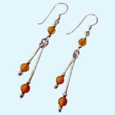 Sterling Silver 925 Amber Color Bead Dangle Earrings
