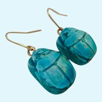 Faience Scarab Beetle Dangle Earrings Turquoise Color