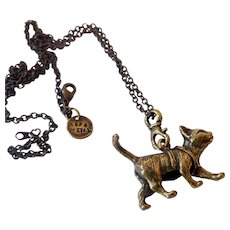 Adorable Figural Cat Walking Pendant Necklace