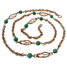 12K Gold Filled Necklace with Cage Links and Aventurine Beads