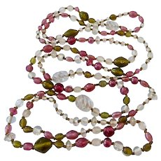 Long 60 Inch Shades of Rose Pink & Green Glass Bead Necklace Endless