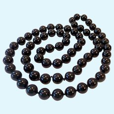 Black Onyx 10MM Bead Necklace Hand Knotted & Endless 30 Inches