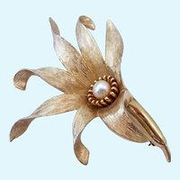 Boucher Flower Brooch with Cultured Pearl Signed & Numbered