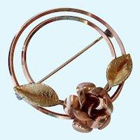 Krementz Brooch Two Tone Floral Open Circle Design