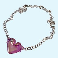 Sterling Silver 925 Necklace with Pink Blown Glass Heart Pendant
