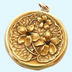 Vintage Art Nouveau Gold Filled Repousse Photo Locket Signed