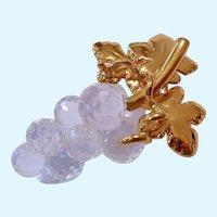Swarovski Clear Crystal Grapes Brooch Swan Signed