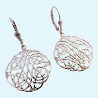 Sterling Silver 925 Celtic Design Lever Back Earrings Ireland