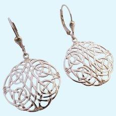 Sterling Silver 925 Celtic Design Lever Back Earrings Ireland