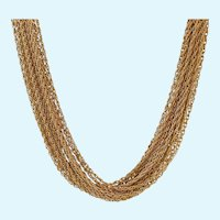 Fabulous Crown Trifari 15 Strand Gold Tone Necklace