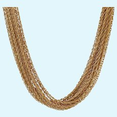 Fabulous Crown Trifari 15 Strand Gold Tone Necklace