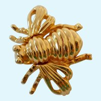 Joan Rivers First Bee Brooch Gold Tone