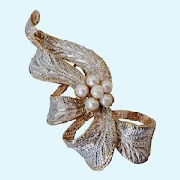 Pretty Holiday Ribbon Brooch Two Tone Glistening