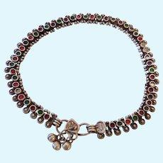 Silver & Enamel Mid-East Ankle Bracelet Anklet Signed