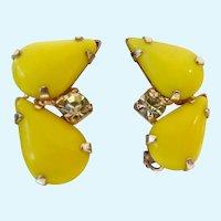 Vintage Yellow Glass Teardrop Cabochon Clip Earrings